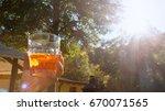 happy hour in sunset  appetizer ...   Shutterstock . vector #670071565