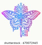 butterfly and key color tattoo... | Shutterstock .eps vector #670072465