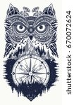 owl and compass tattoo art.... | Shutterstock .eps vector #670072624