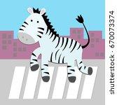 Cute Animal In The City. Zebra...