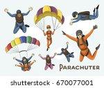 vector set of parachuter | Shutterstock .eps vector #670077001