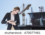 young asian business woman... | Shutterstock . vector #670077481