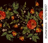 embroidery wild red roses... | Shutterstock .eps vector #670078057