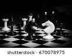 chess pieces knights facing... | Shutterstock . vector #670078975