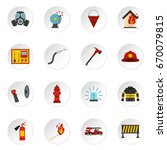 fireman tools set icons in flat ... | Shutterstock . vector #670079815