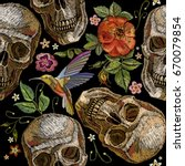 embroidery skull and roses ... | Shutterstock .eps vector #670079854
