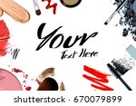 cosmetic frame background | Shutterstock . vector #670079899