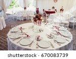 wedding banquet hall decorated... | Shutterstock . vector #670083739