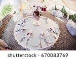 wedding banquet hall decorated... | Shutterstock . vector #670083769