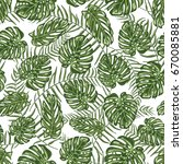 tropical leaf seamless pattern...   Shutterstock .eps vector #670085881