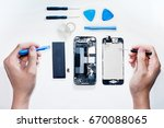 the smartphone was damages and... | Shutterstock . vector #670088065