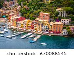 beautiful bay with colorful... | Shutterstock . vector #670088545