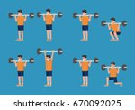 set of man in bodybuilding and... | Shutterstock .eps vector #670092025