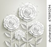 white paper roses with leaves... | Shutterstock .eps vector #670093294