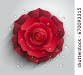 red paper rose with drops of... | Shutterstock .eps vector #670093315