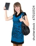 shot of positive young woman with book in hand - stock photo