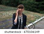 beautiful business woman... | Shutterstock . vector #670106149