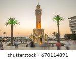 beautiful night view at clock... | Shutterstock . vector #670114891
