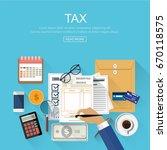 tax payment concept  financial... | Shutterstock .eps vector #670118575