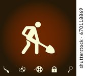 digging man simple vector icon. ...