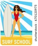 surf school poster. girl with... | Shutterstock .eps vector #670120975