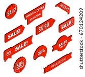 sale banners. discounts 3d... | Shutterstock .eps vector #670124209