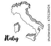 Hand Drawn Of Italy Map  Vecto...