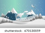 train and snow landscape.... | Shutterstock .eps vector #670130059