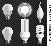 realistic light bulbs set with...   Shutterstock .eps vector #670131355