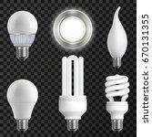 realistic light bulbs set with