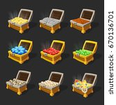 isometric treasure chests set | Shutterstock .eps vector #670136701