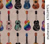seamless pattern with ukulele.... | Shutterstock . vector #670139971