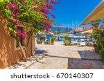 fiskardo village and harbor on... | Shutterstock . vector #670140307