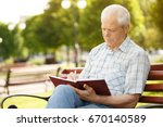 senior man sitting on the bench ...   Shutterstock . vector #670140589