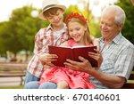 happy little kids smiling...   Shutterstock . vector #670140601