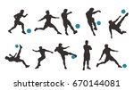 soccer player set silhouette | Shutterstock .eps vector #670144081