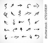 hand drawn arrows  vector set | Shutterstock .eps vector #670145839