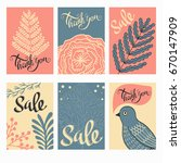 little thank you postcards in... | Shutterstock .eps vector #670147909