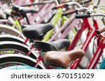 bicycle rent public bicycles ... | Shutterstock . vector #670151029
