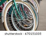 bicycle rent public bicycles ... | Shutterstock . vector #670151035