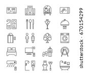 thin line icons set hotel and... | Shutterstock .eps vector #670154299