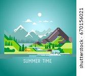 flat design nature landscape... | Shutterstock .eps vector #670156021