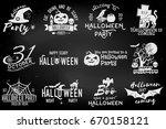 set of halloween party concept... | Shutterstock .eps vector #670158121