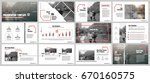Red and gray elements for infographics on a white background. Presentation templates. Use in presentation, flyer and leaflet, corporate report, marketing, advertising, annual report, banner. | Shutterstock vector #670160575