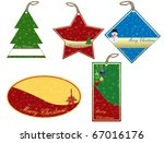 Set of Christmas price tags, vector illustration - stock vector