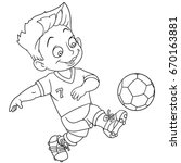 coloring page. cartoon boy... | Shutterstock .eps vector #670163881