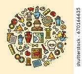 archeology objects set ... | Shutterstock .eps vector #670166635