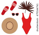 set with beach shoes ... | Shutterstock .eps vector #670166761