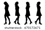 vector silhouette of woman on... | Shutterstock .eps vector #670172671