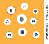 flat icons earphones ... | Shutterstock .eps vector #670173451